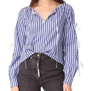 Parker NY Lavinia Combo Blouse Tie Sleeve Contrast